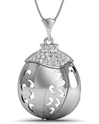 Diamoire Jewels - Hand-carved 10kt White Gold And Diamonds Pave Pendant - Lyst
