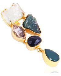 Bhagat Jewels 18kt Gold Plated Brass Vermeil Multi Color Gemstone Statement Pendant - Yellow