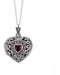 Lily Blanche Sterling Silver Vintage Heart Locket With Garnet - Metallic