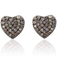 LÁTELITA London - Diamond Heart Stud Earrings Rose Gold - Lyst