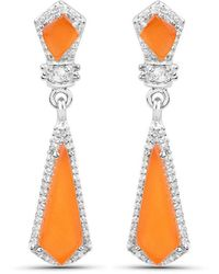 Olivia Leone Rhodium Plated Silver Orange Cocktail Earrings