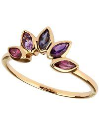 Carolin Stone Jewelry 14kt Yellow Gold Plated Sterling Silver Tanzanite Crown Ring - Metallic