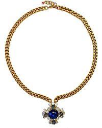 FUCHSIA by Izumi Tahara - Cross Czech Button Pendant Necklace - Lyst