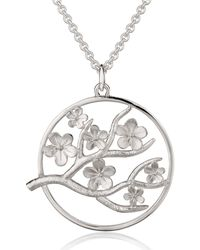 Fiona Kerr Jewellery Large Silver Cherry Blossom Pendant - Metallic