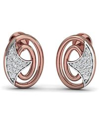 Diamoire Jewels Classic Pave Stud Earrings in 18kt Rose Gold NnkLAuIL