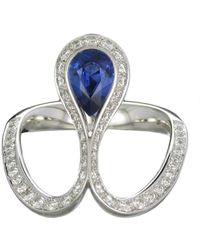 Baenteli - White Gold & Blue Sapphire Royale Pear Ring | - Lyst
