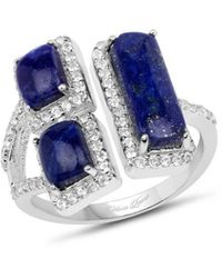 Olivia Leone Rhodium Plated Silver Lapis Lazuli Cocktail Ring - Blue