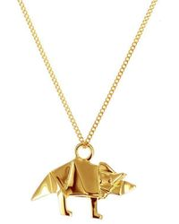 Origami Jewellery - Sterling Silver & Gold Mini Triceratop Origami Necklace - Lyst