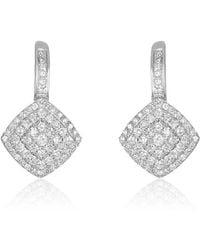 Nehita Jewelry - Square Shaped White Gold Diamond Drop Earrings - Lyst