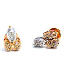 ERAYA 18kt Rose Gold Organic Form Diamond Studs - Multicolour