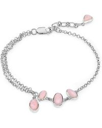 Olivia Leone Rhodium Plated Silver Stylish Pink Opal Chain Bracelet