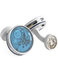 Tateossian - Silver & Blue Skeleton Vintage Glass Cufflinks - Lyst