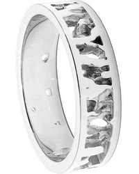 Joseph Lamsin Jewellery Cornish Seawater Textured Nautical Handmade Silver Wedding Ring - Metallic