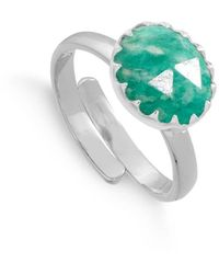 SVP Jewellery Sterling Silver Sunday Girl Amazonite Adjustable Ring - Green