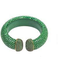 Latelita London Stingray Cuff Gold Jade Green jngaJ