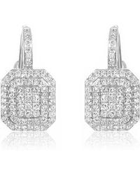 Nehita Jewelry - Lever Back White Gold Diamond Drop Earrings - Lyst