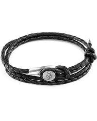 Anchor & Crew - Coal Black Dundee Silver And Braided Leather Bracelet - Lyst