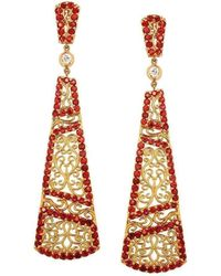 "Dallas Prince Designs | ""trellis Vine"" Earring With Red Sapphires And Diamonds 