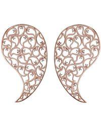 Sonal Bhaskaran - Jaali Rose Gold Paisley Earrings With Clear Cubic Zirconia - Lyst
