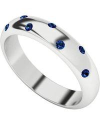 StyleRocks - Blue Sapphire 9kt White Gold Domed Ring - Lyst
