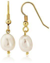 Lavan - 9kt Gold Large White Pearl Drop Earrings - Lyst