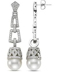 Isaac Westman 18kt White Gold South Sea Pearl And Diamond Earrings - Metallic