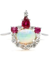 Master Jewelry by John 14kt Gold Natural Opal, Ruby & Diamond Crown Engagement Ring - Metallic