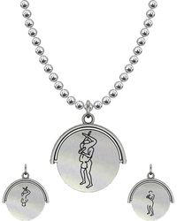 Allumer Sutra 13mm Silver Pendant Necklace - Boy And Boy - The 69 - Metallic