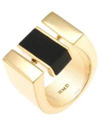 Helana Mckenzie Jewellery Designs 24kt Gold Plated Resin Centrepoint Ring - Metallic