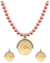 """Allumer Yellow Gold Plated Flicker Of Light Necklace - """"lol"""" - Multicolor"""