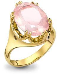 London Road Jewellery - 9kt Yellow Gold Elegant Rose Quartz Cocktail Ring - Lyst