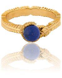 Vurchoo 18kt Yellow Gold & Lapis Lazuli Caleb Floral Vermeil Ring - Multicolour