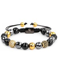 GT Collection Gold & Mixed Agate, Hematite Women's Beaded Bracelet - Metallic