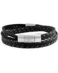 Tateossian - Silver & Black Leather Cobra Doppio Bracelet - Lyst