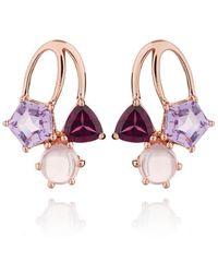 MANJA Jewellery - Kintana Rose Gold Amethyst, Rhodolite & Rose Quartz Earrings - Lyst