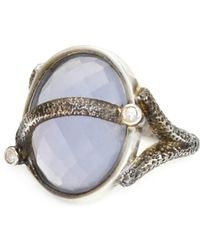 Lisa Robin Ring Oval Sterling Silver Chalcedony - Metallic