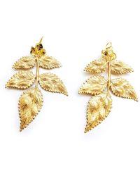 Pats Jewelry - Brass Imperial Roman Leaf Earrings - Lyst