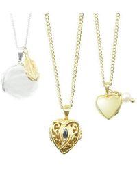 Lily Blanche Pearl Heart Locket - Metallic