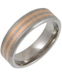Star Wedding Rings Titanium Flat Court Shape Matt With Two 9kt Rose Gold Inlay Ring - Black