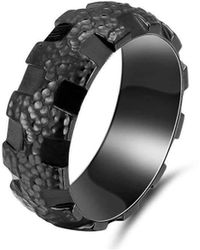 KAVALRI - Hammered Gear Balc Zirconium Ring - Lyst