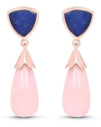 Olivia Leone 14kt Rose Gold Plated Silver Pink Opal Dangle Earrings