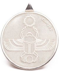 Congés Silver Scarab Two Sided Coin Necklace - Metallic