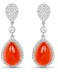 Olivia Leone Rhodium Plated Silver Red Carnelian Drop Earrings