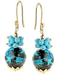 Elisa Ilana Jewelry - Yellow Gold, Chrysocolla & Turquoise Earrings | - Lyst