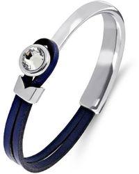 Yan Neo London Poppy Navy & Silver Leather Bracelet - Blue