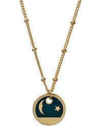 Mirabelle Jewellery Gold Plated Moon Star Enamel Medal - Blue