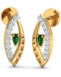 Diamoire Jewels - 18kt Yellow Gold 0.09ct Pave Diamond Infinity Earrings With Emerald - Lyst