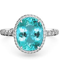 MARCELLO RICCIO 18kt Gold, Diamond & Paraiba Tourmaline Ring - Blue