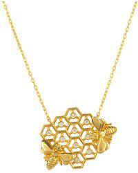 LÁTELITA London Yellow Gold Plated Queen Bee Honey Comb Necklace - Metallic