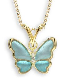 Nicole Barr - 18kt Gold Turquoise Butterfly Necklace - Lyst